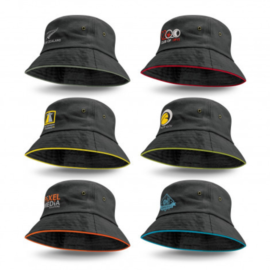 Bucket Hat - Black with coloured trim